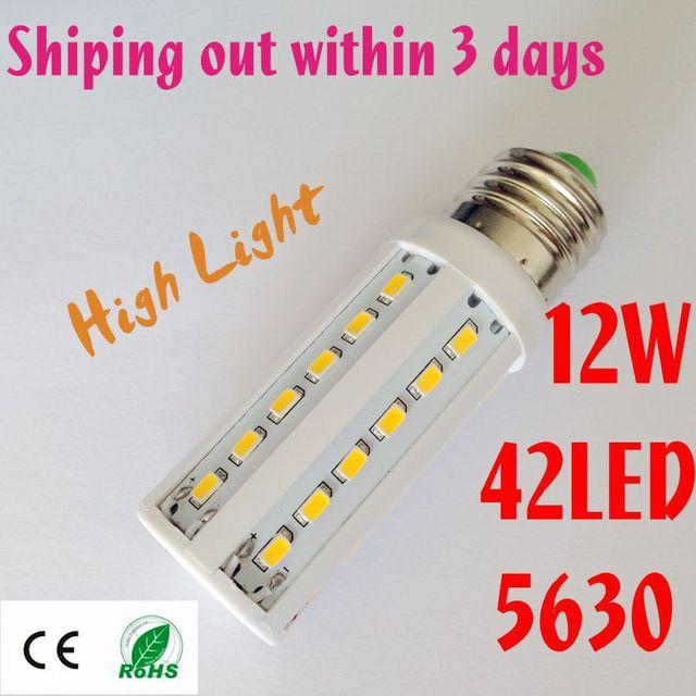 12W E27 42 LED SMD LED BULB 5630 Warm White cool white Free Shipping