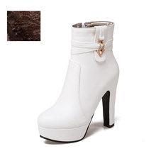 WETKISS Mùa Đông 2020 Giày Cao Gót Cổ Chân Nữ Giày Mũi Tròn Giày Pha Lê PU Nữ Mùa Đông Nền Tảng Giày Size Lớn 34-50(China)