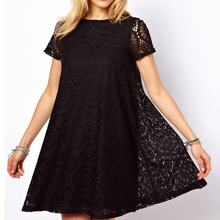 Fashion Female Summer Style A-Line Short Sleeves Dress Summer Women Hollow Out Lace Sexy Dress(China (Mainland))
