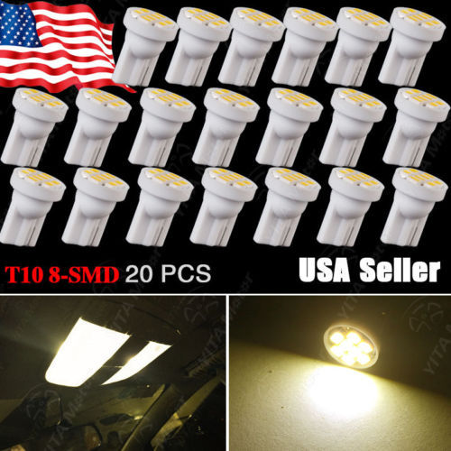 20pcs/lot Car led Ligths Bulbs Warm White T10 Wedge 8-SMD LED Interior Light bulbs W5W 2825 158 192 168 194 Map Dome Bulbs Hot(China (Mainland))