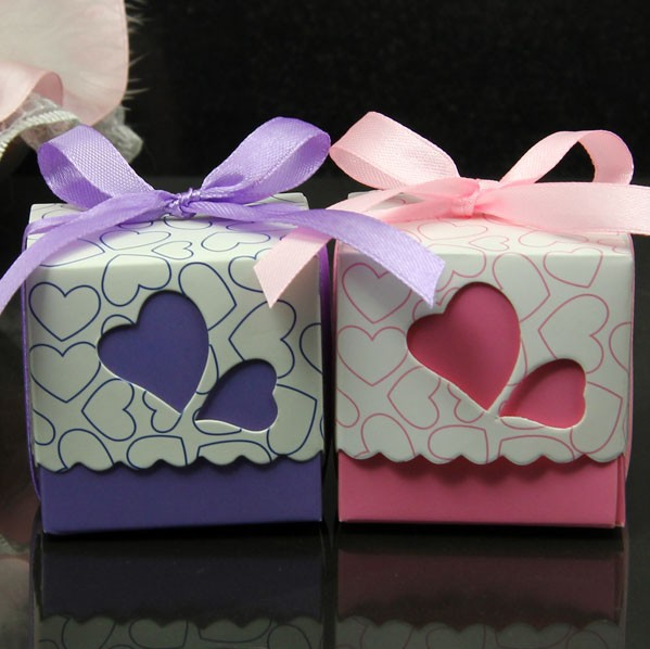 Hot Sell 100pcs Wedding Favor Candy Boxes Ribbons Are Included Wedding Party Gift Box 6 Colours(China (Mainland))