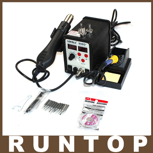 2 Function IN 1 720w YIHUA YH-898D+ Heat Gun Digital Solder Iron SMD Rework Station +10 Solder tips + Goot Wick(China (Mainland))