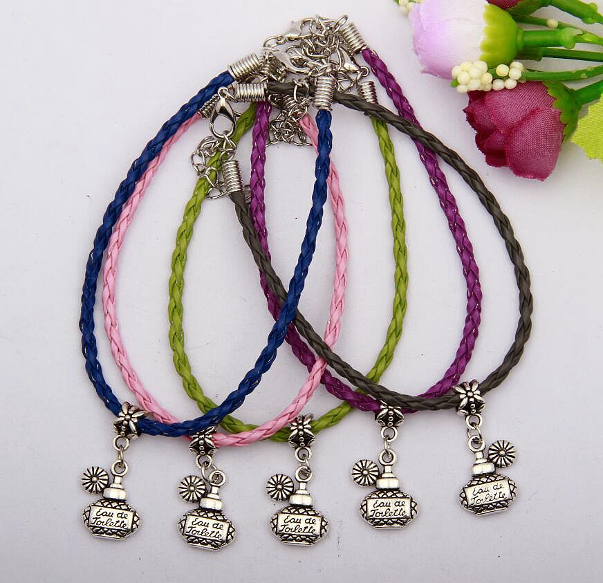 30pcs Zinc Alloy Plating Silver Perfume Bottle Charm Pendant Mixed Color Braided Rope Bracelet Jewelry DIY For Women&Men H661(China (Mainland))