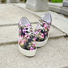 Canvas wedges autumn platform shoes casual low-top lacing women's high heels shoes