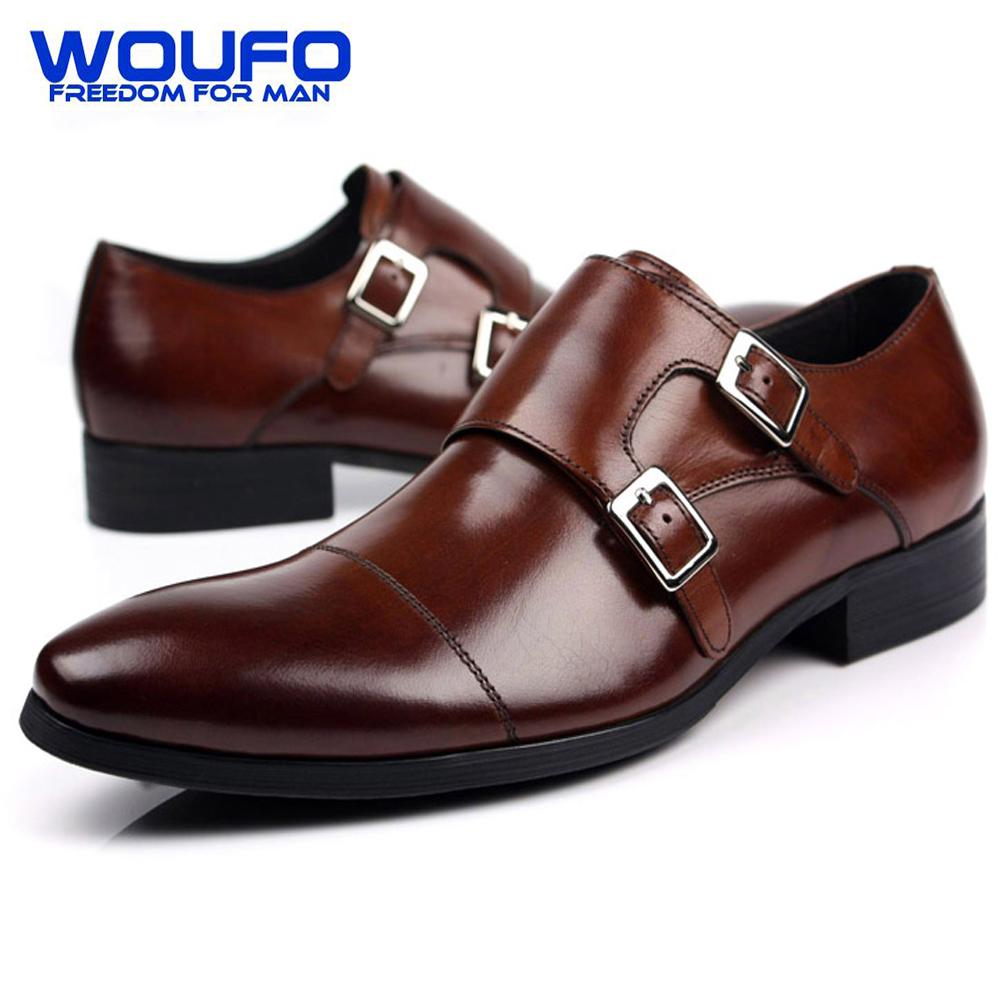 2016 de Lujo Para Hombre Brown Cap Toe Zapatos de Vestir Para Hombre Doble Monje Zapatos