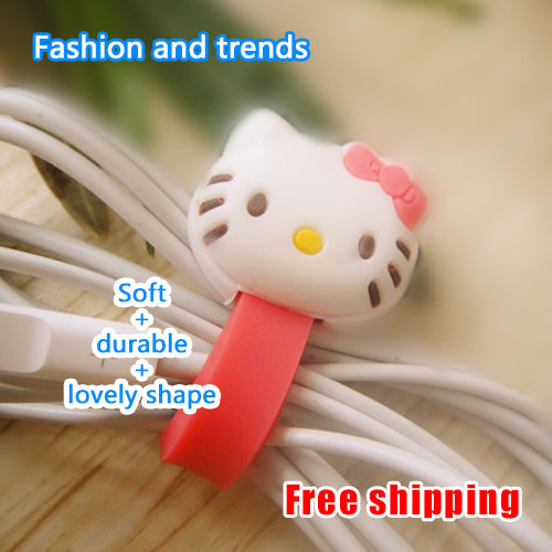 E4U Free shipping hello kitty winder Cute pink Soft material Button design Easily lost. For a variety of line sizes(China (Mainland))