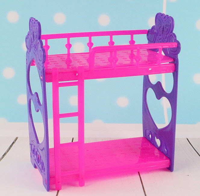 Kid's Play House Toys Doll Accessories Handmade Doll's Plastic Bunk Bed For Kali dolls For Barbie Dollhouse(China (Mainland))