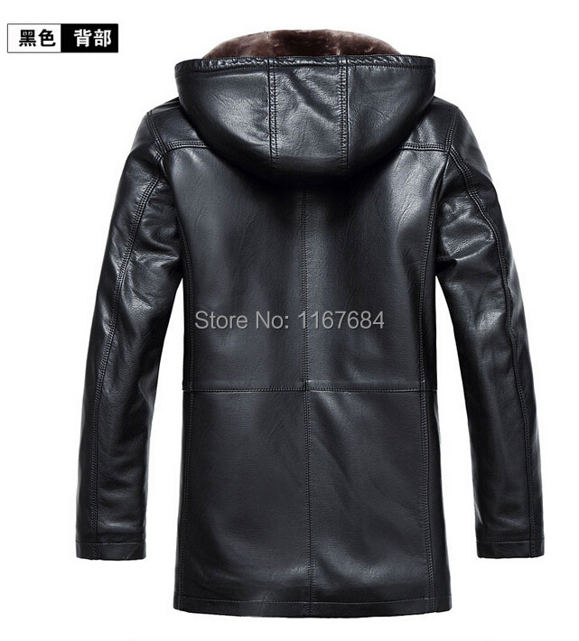 Free shipping 2016 New Men's Brand casual Winer sheep skin leather hooded fur new fur coat leather Jackets / M-4XL