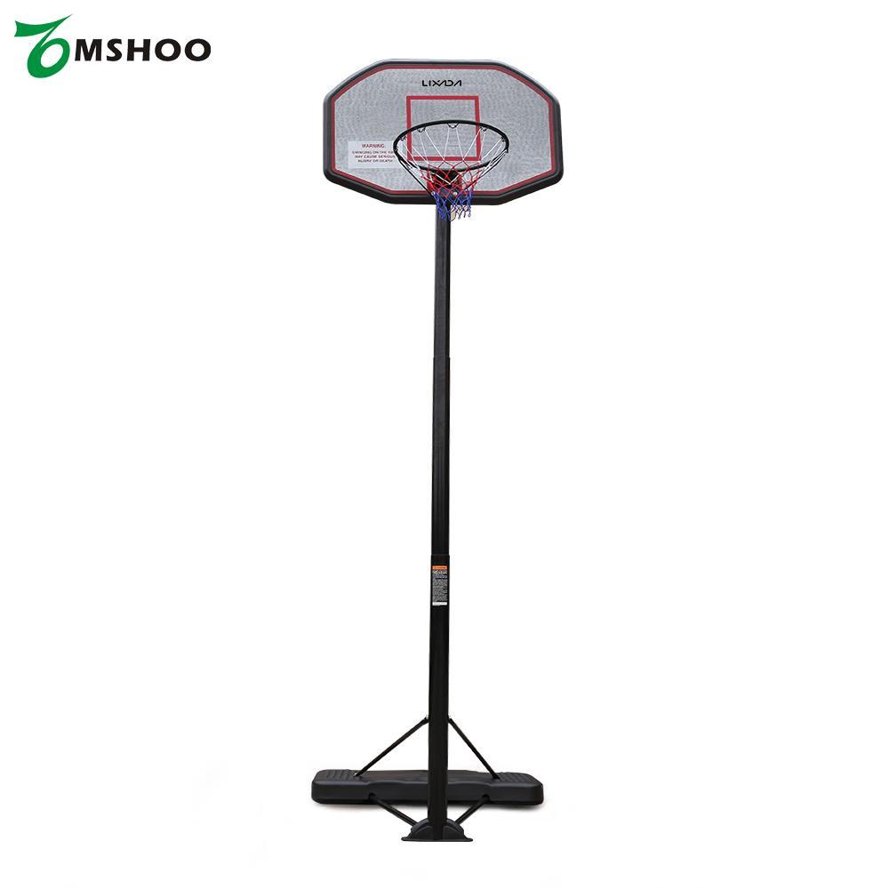 Lixada Youth Basketball Hoop System Basketball Stands Court Home Set Portable 2.0-3.05m Adjustable Height Backboard Steel Tube(China (Mainland))