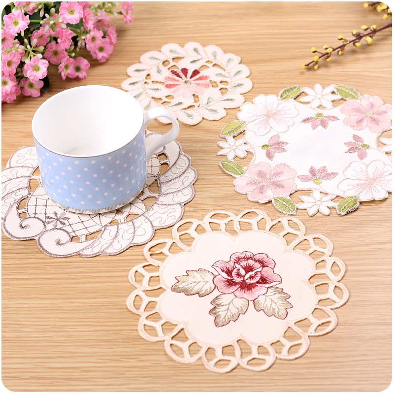 Embroidery decoration coaster eco-friendly fabric disc pads bowl pad table mats fashion dining table accessories