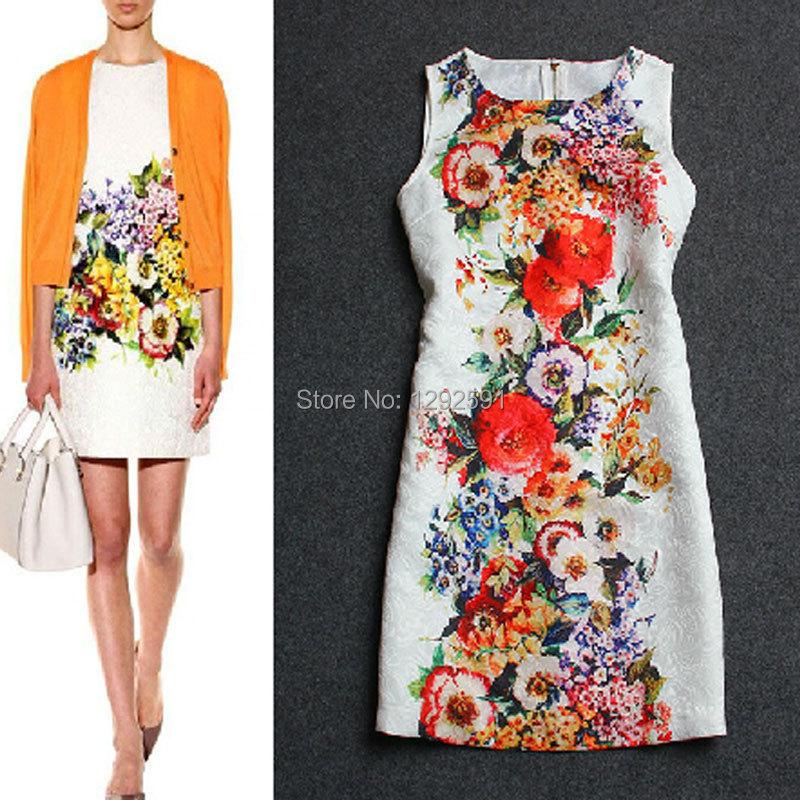Woman Runway Dress 2015 Super Deals Novelty Summer Flower Print Vestidos Curtos Novidades Vestidos Embroidery Brand Dress Roupas(China (Mainland))