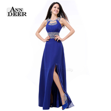 ANN DEER S322 Sexy Side Split Open Back Long Prom Dresses 2016 A-Line O-Neck Chiffon Beaded Formal Dress Party Gown(China (Mainland))