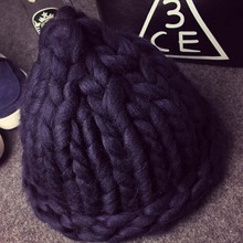 Women Winter Warm Hat Handmade Knitted Coarse Lines Cable Hats Knit Cap Candy Color Beanie Crochet Caps Women Accessories(China (Mainland))