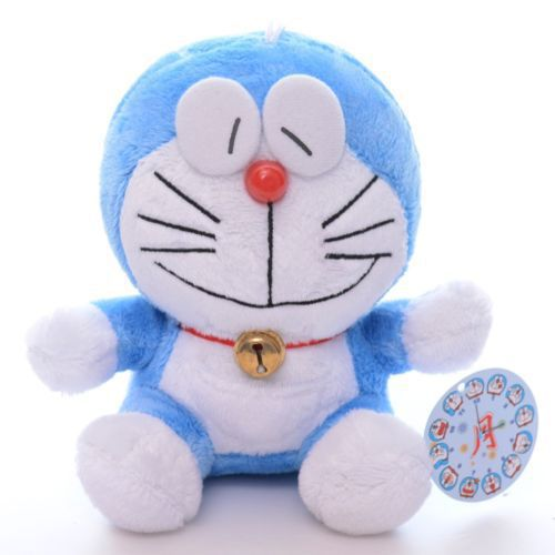 Hot Selling Cute Japan Smiling Expression Blue Doraemon Bell Plush Anime Doll Toys 7'' New Free Shipping#15(China (Mainland))