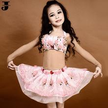 2016 haute qualité enfants Costumes de danse du ventre Top & Bra Holder et jupe enfants Indian Dance Costumes filles Costume de danseuse du ventre DQ2028