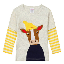 High Quality Fall Winter Kids Infant Clothing Children T-shirt Cute Baby Boy Girl Long Sleeve Cotton T shirts Beige Mr. Cow(China (Mainland))