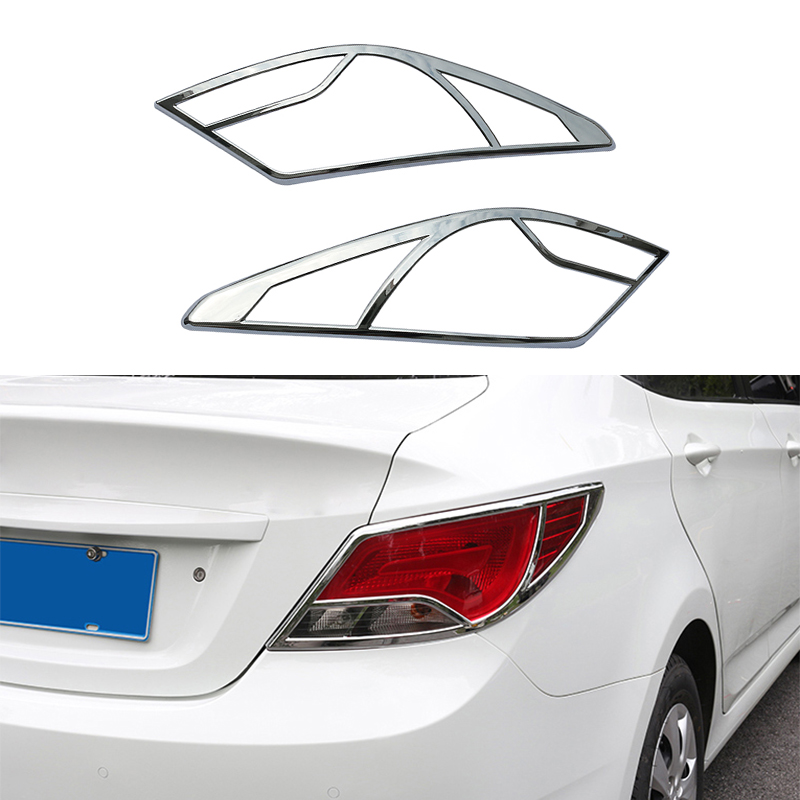 2Pcs/Set New Styling Car Decoration Accessories ABS Chrome Trim Rear Tail Light Lamp Cover For Hyundai Verna Solaris 2014 2015<br><br>Aliexpress
