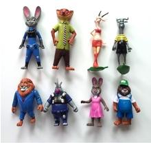 crazy animal city zootopia Nick Fox Judy Rabbit 8pcs 10-15cm kids toys pokemon anime figure cosplay LPS