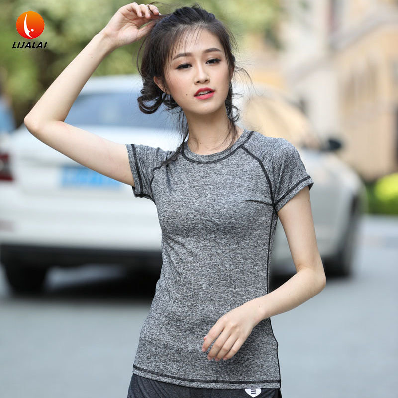 Lijalai yoga shirts for fitness Short sleeve breathable quick dry clothing tight fitting sports top running tank women's t-shirt(China (Mainland))