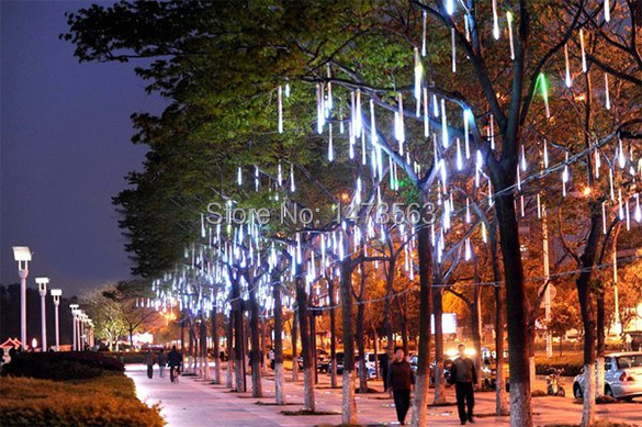 8pcs/set 50CM US Meteor Shower Rain Tubes Christmas Holiday Garden Decoration Lights Fairy LED Bar Light Blue/White/RGB YL0013(China (Mainland))