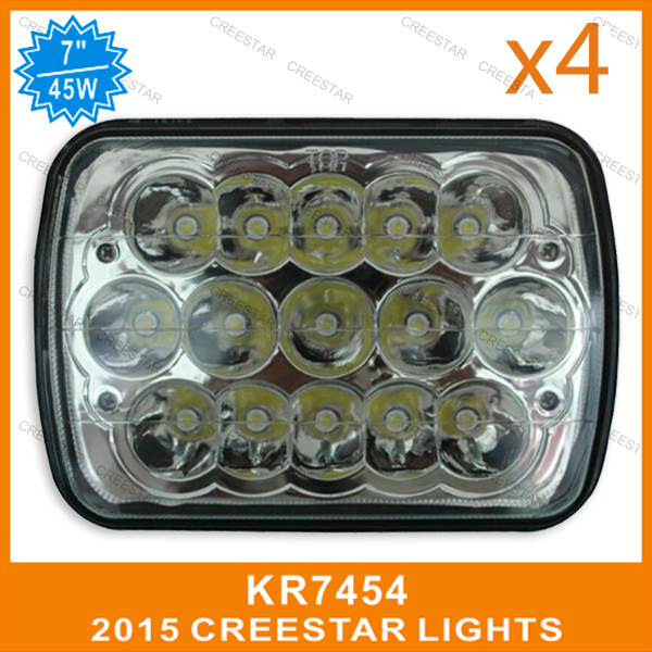 7inch x 6 inch 45W led high/Low beam used for replacement lights external lights KR7454 4pcs/lots DHL free shipping(China (Mainland))