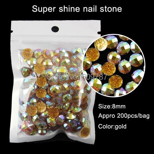 200pcs gold 8mm round Nail Art Decorations DIY