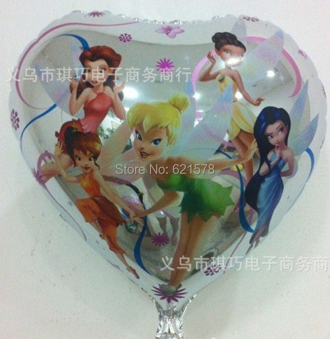 10pcs/lot 18 inch heart fairy elfin helium balloon aluminium tinker bell foil balloon for party decoration(China (Mainland))