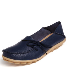 New Women Real Leather Shoes Moccasins Mother Loafers Soft Leisure Flats Female Driving Casual Footwear Size 35-42 In 15 Colors(China (Mainland))