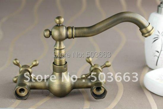 Lavabo Para Baño Antiguo:Montado en la pared de latón antiguo baño grifo lavabo de la cocina