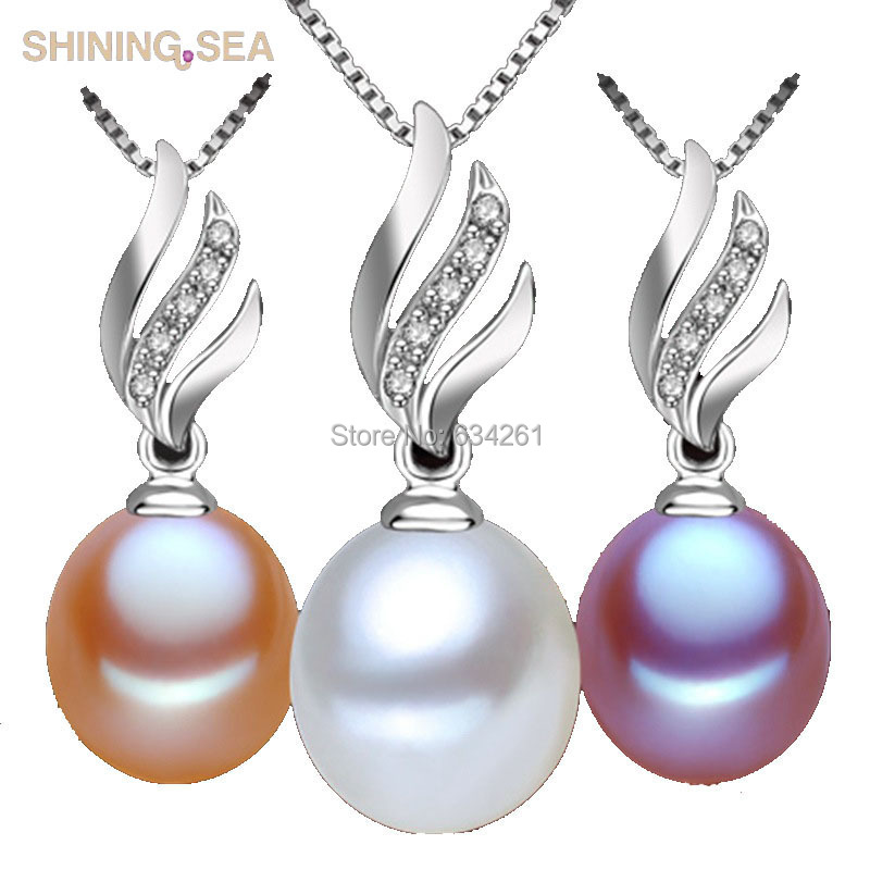 100% Real Natural Pearl Necklaces with 925 Silver Pendants, Rice Freshwater Pearls Jewelry For WOMEN christmas pendants(China (Mainland))