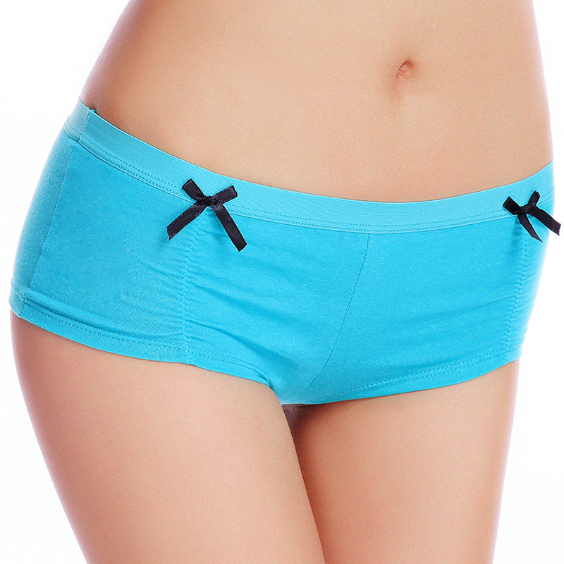 89007 Factory Whoesale New 2016 Boyshort 6 Solid Color Women Cotton Panties(China (Mainland))