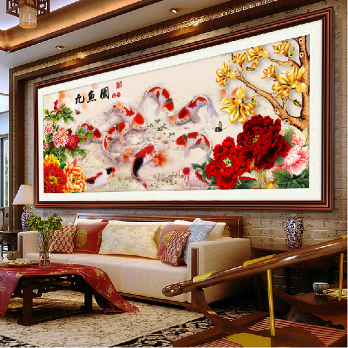 5D diamond mosaic diy diamond Painting fish and flowers picture diamond embroidery Needlework wall pictures for living room gift(China (Mainland))