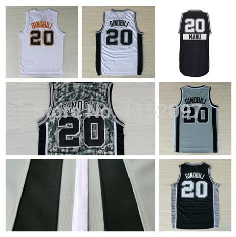 Cheap Price San Antonio 20 Manu Ginobili Jersey Christmas Black White Camo Gray Shirt Men's Manu Ginobili Basketball Jersey(China (Mainland))