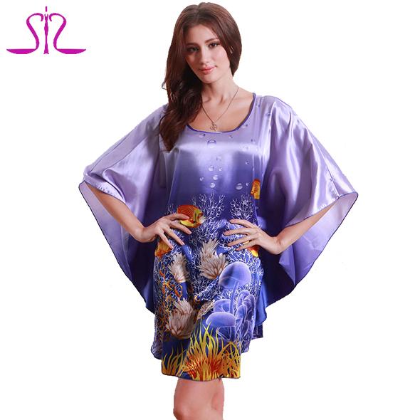 Top Sale nightgowns sleepshirts 2015 Silk Kigurumi Pajamas Round Neck Plus Size sleep lounge Night shirt Of Bathrobe Women 7348(China (Mainland))