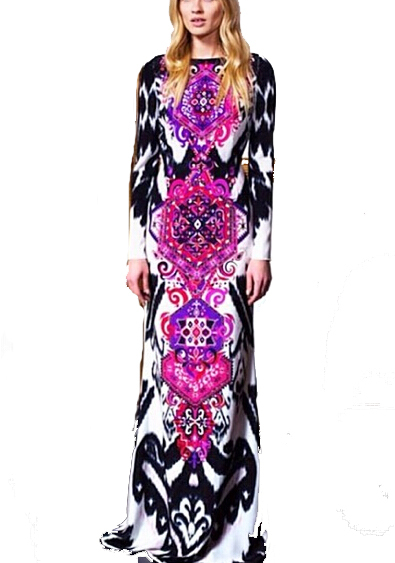 New 2014 Italian Designer Luxury Brands Women's Luxury Baroque Print Long Sleeves XXL Stretch Jersey Silk Spandex Maxi Dress(China (Mainland))