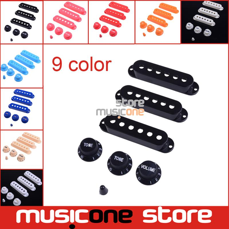 1 Set Platic Guitar Single Coil Pickup Cover 1 volume 2 Tone Knobs Switch tip 9color provide Free shipping(China (Mainland))