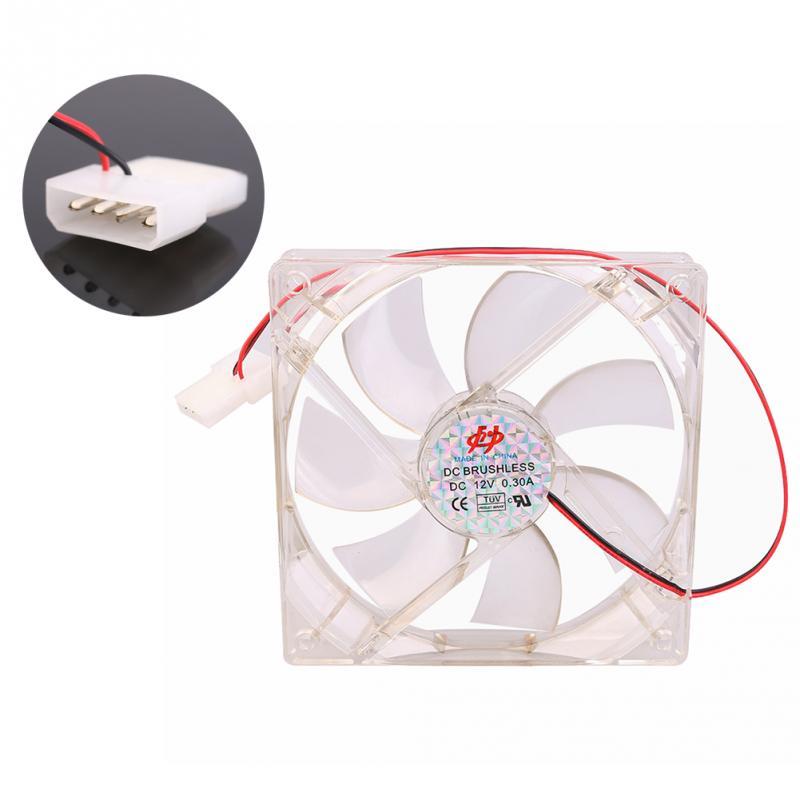 PC 12V 4Pin 12cm 120mm Transparent Color LED Case System Cooling Fan(China (Mainland))