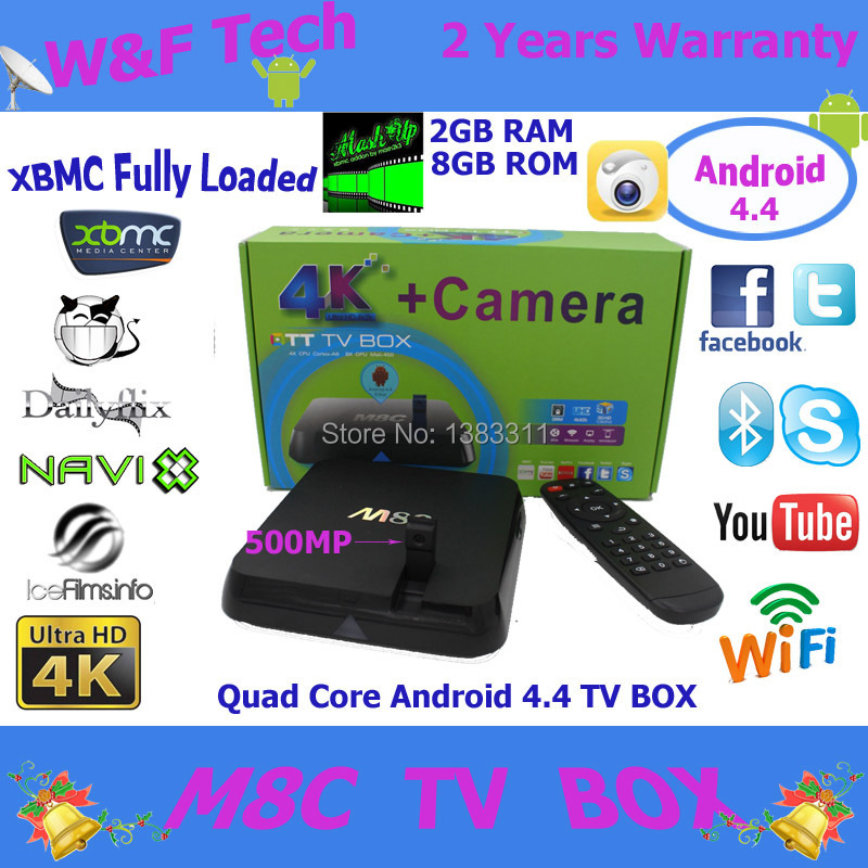 Amlogic S802 M8C TV Box Quad Core 2gb/8gb memory 5MP Camera Android 4.4 Updated M8 android tv box 4K(China (Mainland))