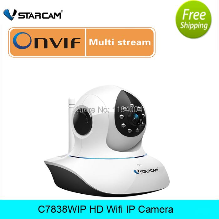 free shipping Vstarcam C7838WIP 720P HD 1MP Onvif RTSP IP Camera 3.6mm P2P P/T Wifi IR-cut 2 way Audio Indoor ONVIF IP Camera(China (Mainland))