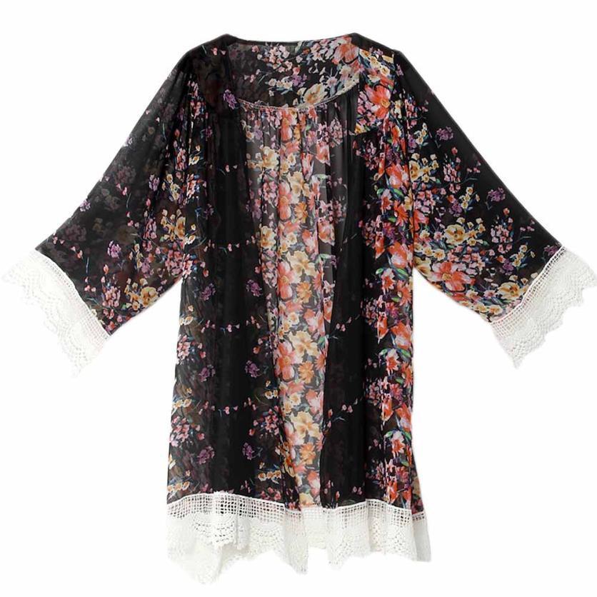 New Women Printed Chiffon Shawl Kimono Cardigan Plus Size