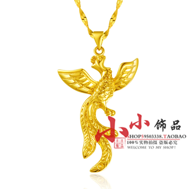 Gold chain 24k gold plated necklace golden phoenix women's sand necklace(China (Mainland))