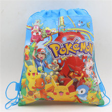 Buy Pokemon go Kids Favors Drawstring Bags Birthday Party Cartoon Baby Shower Pikachu Non-Woven Fabric Backpack Decoration Supplies for $1.28 in AliExpress store