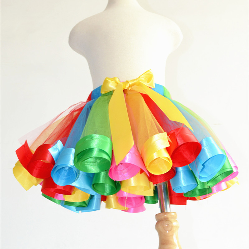 2015 Newest Casual Baby Girl Kids Rainbow Ribbons Tutu Skirt Tulle Princess Dance Party Pettiskirt For Costume Party Wedding(China (Mainland))