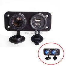 Dual USB Charger 5v 2.1/1 Amp & Power Socket Panel Mount Marine 12 Volt Outlet