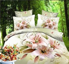 2015 Free Shipping 3d oil painting bedding set  without filler/bedset cotton/duvet cover set bed sheet !  A(China (Mainland))
