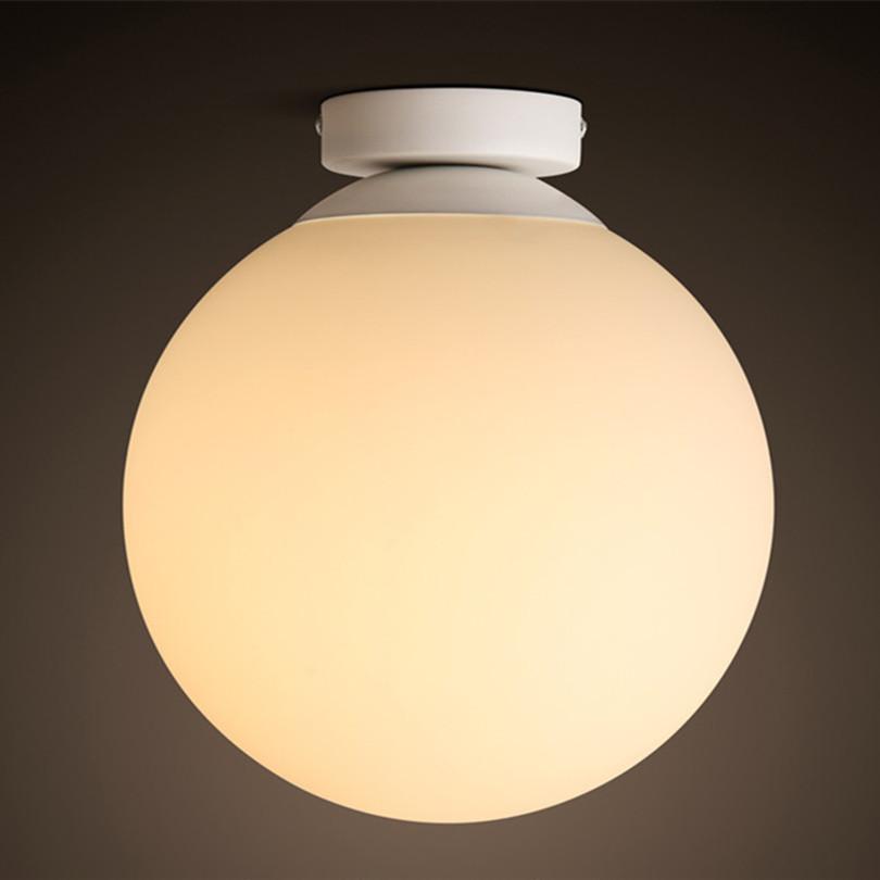 New Fashion Modern Simple White Glass Iron Led Ceiling Light 3 Sizes With 3W Led Original Bulb(China (Mainland))