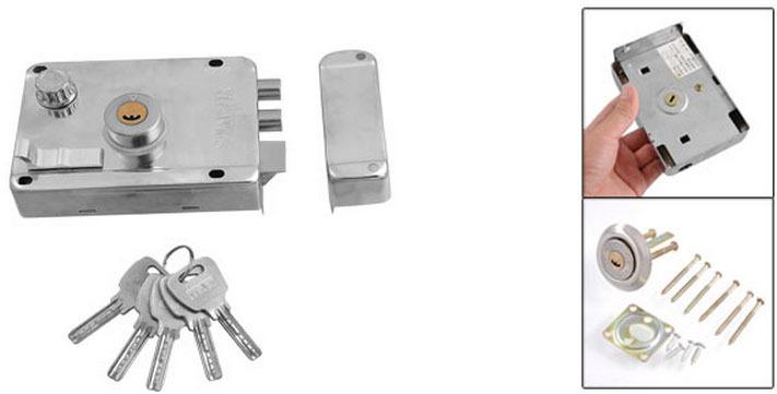 Office Home Silver Tone Left Hand Door Deadbolt Rim Lock(China (Mainland))