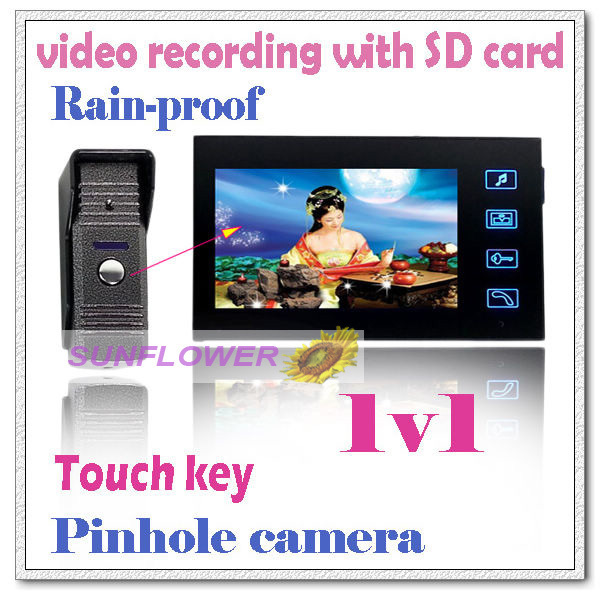 Record videos color video door phone intercom systems + 2GB SD memory card full-touch button/Picture recording door bells