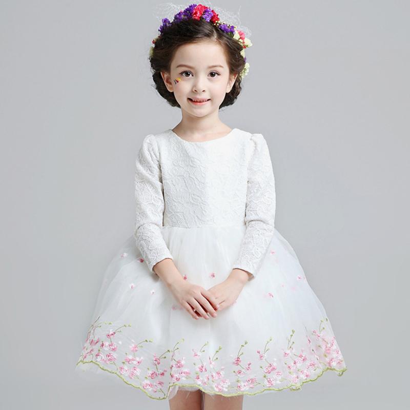 Girl Party Dress 2016 Embroidering Flower Long Sleeve Girl Dress Mesh Ball Gown Princess Dress Girl Children Costumes For Girls