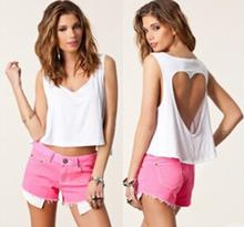Pure Cotton Blackless Vest Girls Fashion Crop Tank Top(China (Mainland))